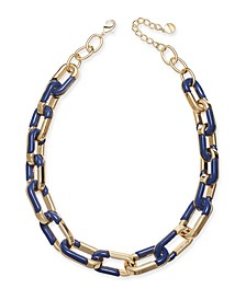 """Gold-Tone & Black Acrylic Large Link Necklace, 20"""" + 2"""" extender, Created for Macy's"""