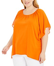 Plus Size Ruffled Handkerchief-Hem Top