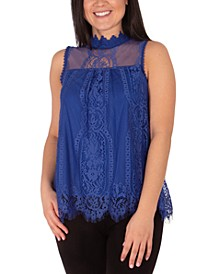 Mock-Neck Lace Top