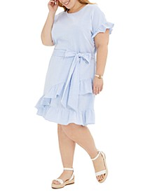 Plus Size Seersucker Ruffled Dress