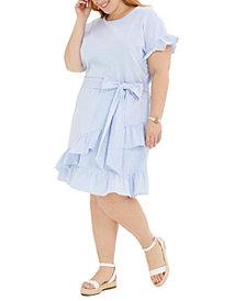 Michael Michael Kors Plus Size Seersucker Ruffled Dress