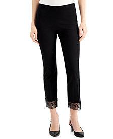 Alfani Petite Lace-Hem Ankle Pants, Created for Macy's