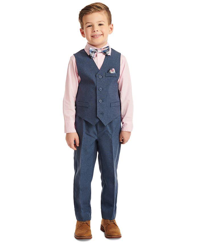 Nautica - Toddler Boys 4-Pc. Heather Poplin Vest Set