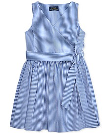 Toddler Girls Striped Cotton Wrap Dress