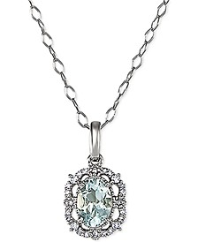 "Aquamarine (5/8 ct. t.w.) & Diamond (1/10 ct. t.w.) 18"" Pendant Necklace in 14k White Gold"