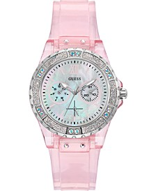 Women's Pink Transparent Silicone Strap Watch 39mm