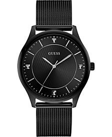 Men's Diamond-Accent Black Stainless Steel Mesh Bracelet Watch 44mm