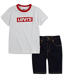 Baby Boys 2-Pc. Logo-Print T-Shirt & Denim Shorts Set