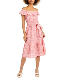 Petite Plaid Off-The-Shoulder Midi Dress