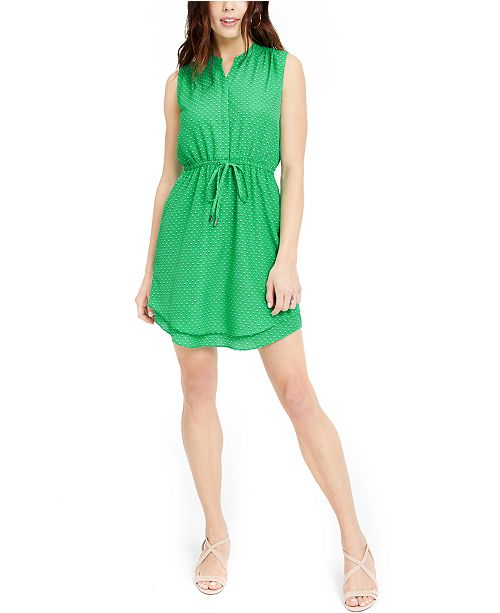 Maison Jules Printed Double-Hem Sleeveless Dress, Created for Macy's