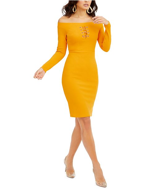 Thalia Sodi Off-The-Shoulder Lace-Up Scuba Dress, Created for Macy's