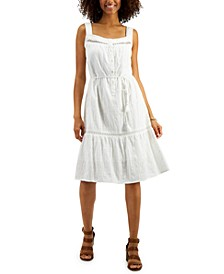 Petite Cotton Crochet-Trim Tie-Waist Dress, Created for Macy's