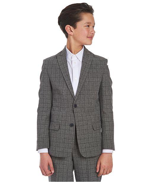 Calvin Klein Big Boys Stretch Windowpane Suit Jacket
