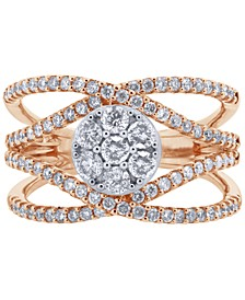 Diamond Crossover Cluster Statement Ring (1 ct. t.w.) in 14k White Gold & Rose Gold
