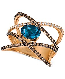 Deep Sea Blue Topaz™ (1-3/8 ct. t.w.) & Diamond (5/8 ct. t.w.) Crossover Statement Ring in 14k Rose Gold