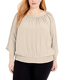 Plus Size Crochet-Sleeve Necklace Top, Created for Macy's