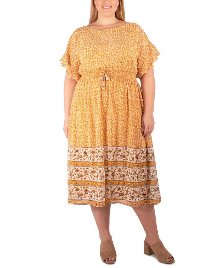 NY Collection - Plus Size Border-Print Midi Dress