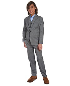 Big Boys Slim-Fit Poplin Dress Shirt & Stretch Gray Windowpane Sharkskin Suit Separates