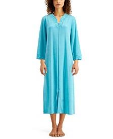Lace-Trim Long Terry Zipper Robe
