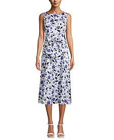 Bow-Front Printed Midi Dress