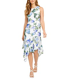 Floral-Print Asymmetrical-Hem Midi Dress