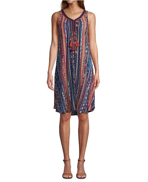 John Paul Richard Petite Printed Tasseled Dress