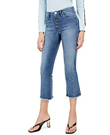 Cropped Button-Fly Jeans