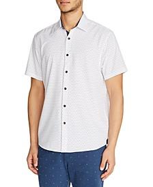 Men's Slim-Fit Mini Dot Short-Sleeve Button-Down Stretch Shirt