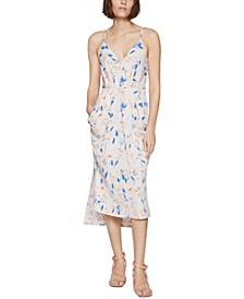 Floral-Print Draped Midi Dress