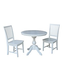 "36"" Round Extension Dining Table with 2 Mission Chairs"