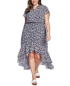 Trendy Plus Size Wildflower Bouquet Printed High-Low Dress