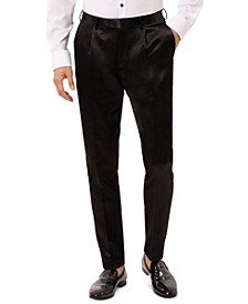 Men's Slim-Fit Black Solid Pleated Dress Pants