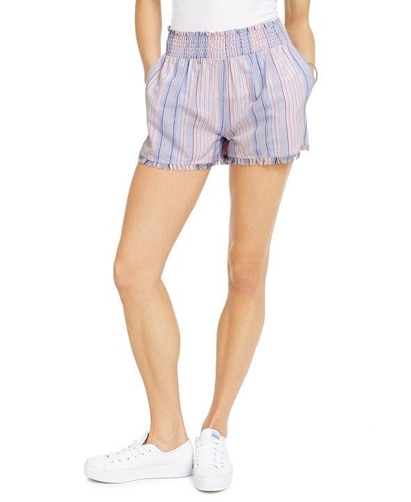 Derek Heart Juniors' Striped Smocked-Waist Shorts