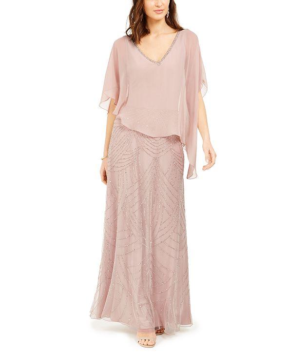 J Kara Embellished Capelet Gown