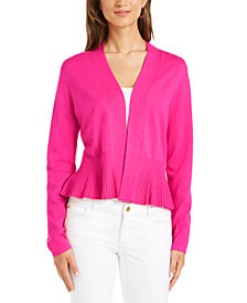 Charter Club Solid Peplum Cardigan Sweater, Created for Macy's