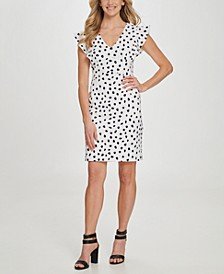 Dot V-Neck Ruffle Cap Sleeve Sheath Dress