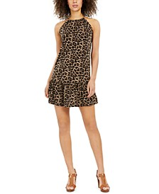 Animal-Print Chain Halter Dress