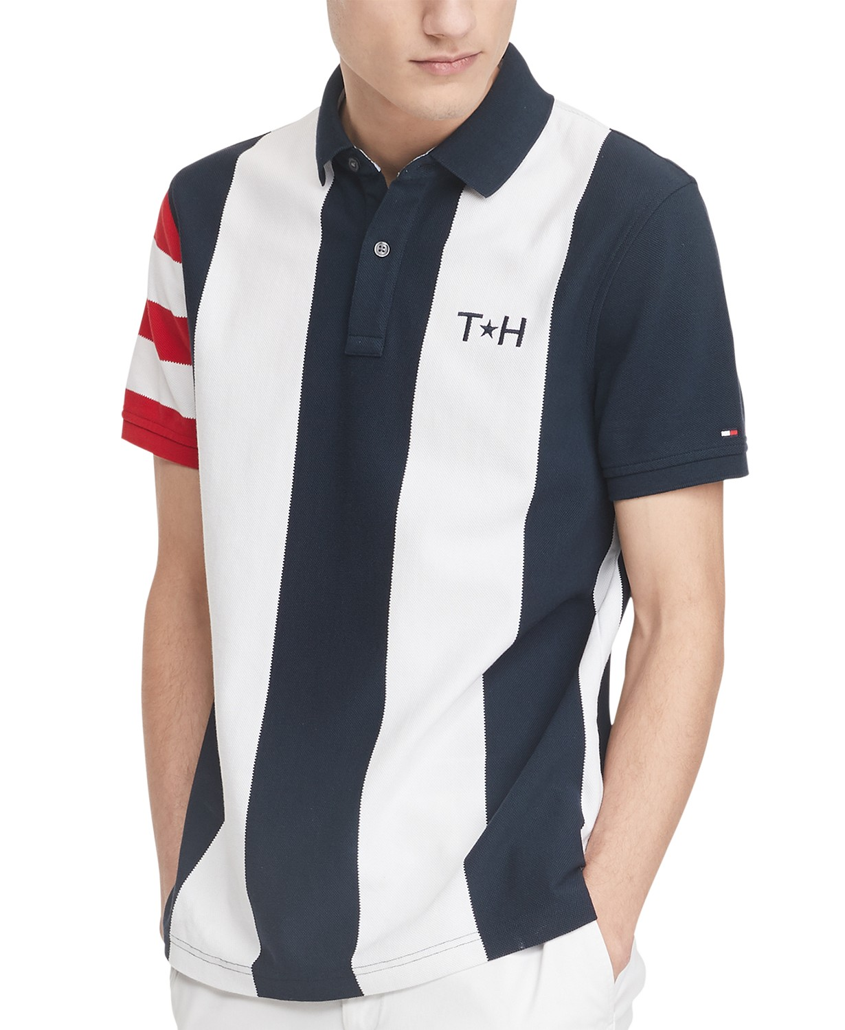 Tommy Hilfiger Men's Abram Custom-Fit Colorblocked Stripe Polo Shirt