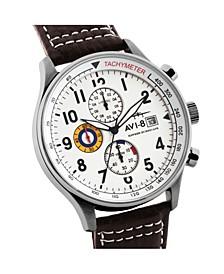 Men's Hawker Hurricane Chronograph Brown Genuine Leather Strap Watch 42mm