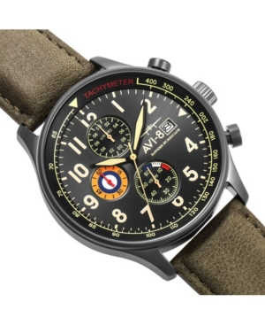 Men's Hawker Hurricane Chronograph Army Green Genuine Leather Strap Watch 42mm