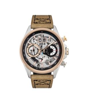 Men's Hawker Harrier Ii Retrograde Chronograph Matador Edition Brown Genuine Leather Strap Watch 45mm