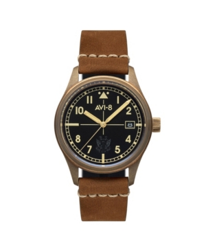 Avi-8 Men's Flyboy Automatic Eagle Squadron Bronze Edition Gift Set with Tan Brown Genuine Leather Strap Watch 39mm and Additional Nylon Nato and Leather Nato Straps