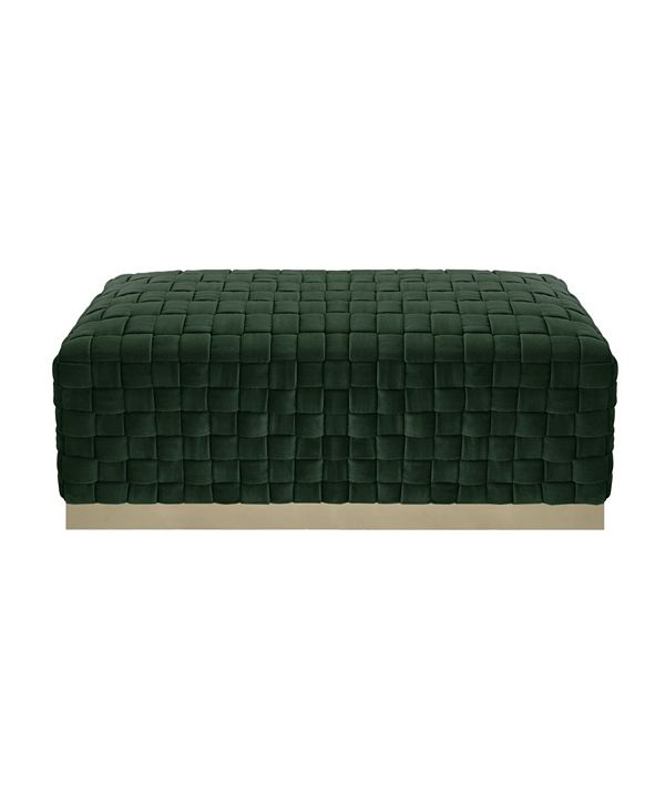 Nicole Miller Satine Woven Bench with Metal Base