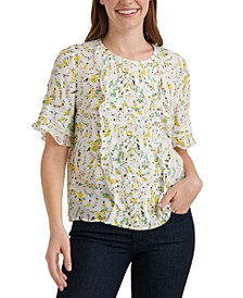 Skylar Floral-Print Pleated Top