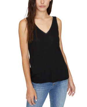 Sanctuary Linn Linen Crochet-trim Tank Top In Black