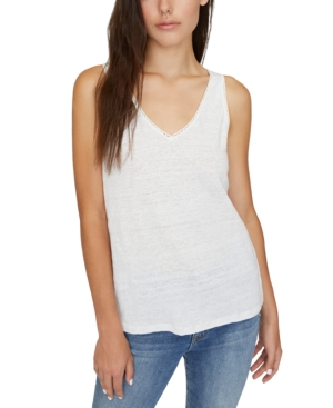 Sanctuary Linn Linen Crochet-trim Tank Top In White Jasmine