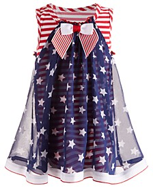 Baby Girls Striped Star-Overlay Dress