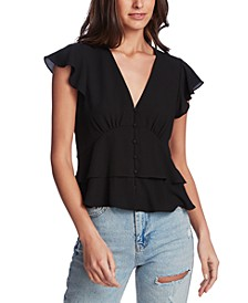 Flutter-Sleeve Button-Front Blouse