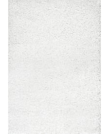 Easy Shag Marleen Plush White 4' x 6' Area Rug
