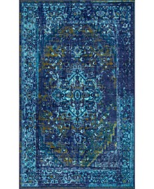 "Giza Vintage-Inspired Persian Reiko Blue 4'4"" x 6' Area Rug"